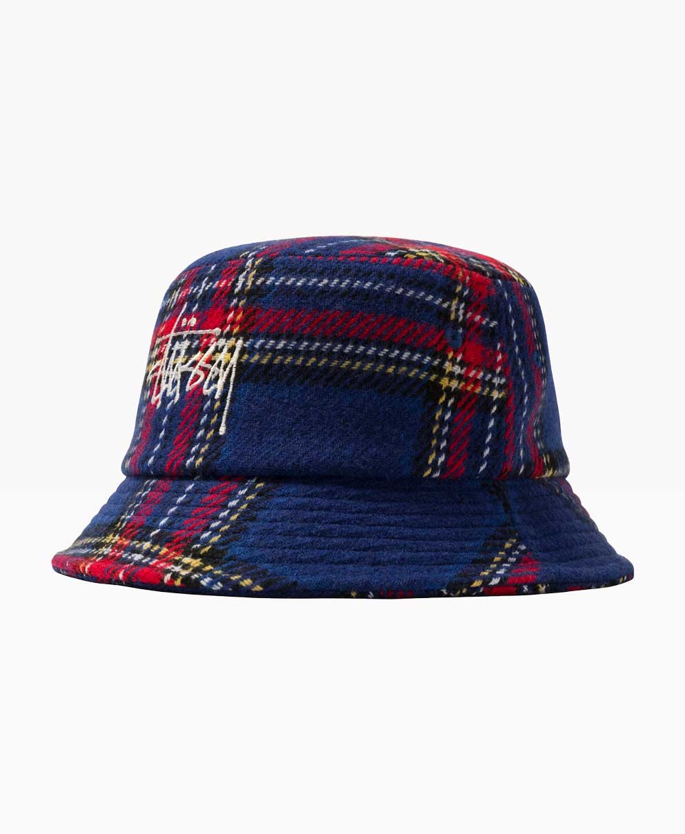 Stussy Big Logo Plaid Bucket Blue Front