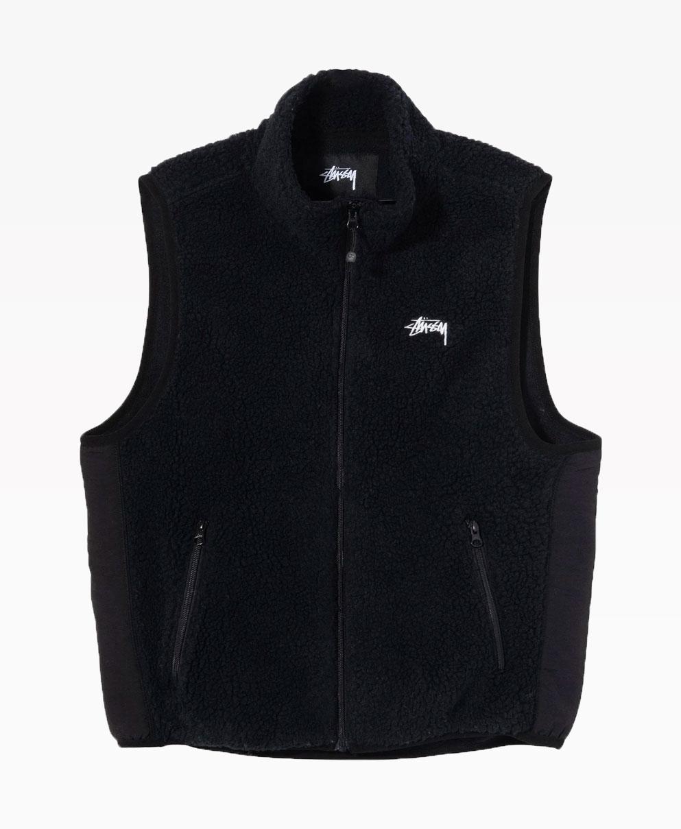 Stussy Block Sherpa Vest Black Front
