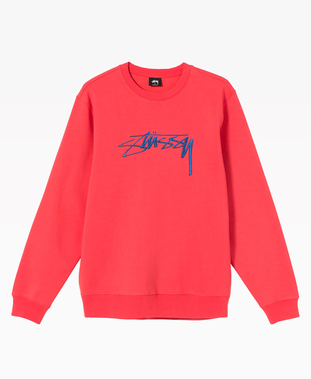Stussy Smooth Stock Embroidered Crewneck Pale Red Front