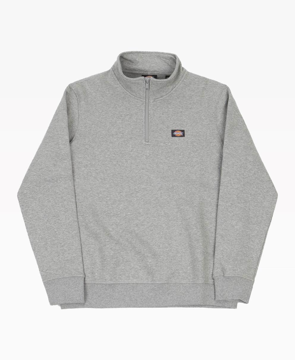 Dickies Oakport Quarter Zip Sweater Grey Front
