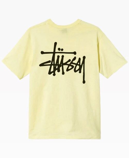 Stussy Basic Logo Tee Pale Yellow Back