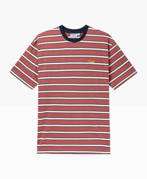 Butter Goods Beach Stripe Tee Coral Front