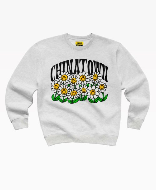 Chinatown Smiley Flower Power Crewneck Ash Gray Front