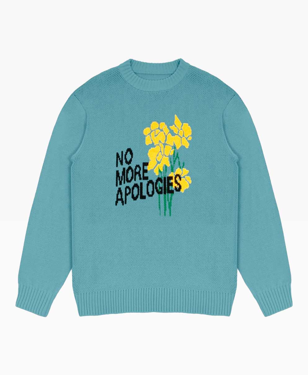 Wasted Apologies Sweater Knit Blue Front