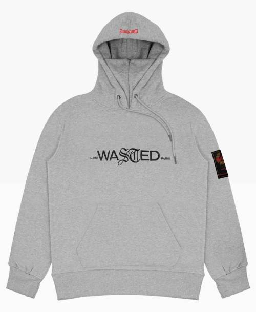 Wasted Essentiel Hoodie Heather Grey Front