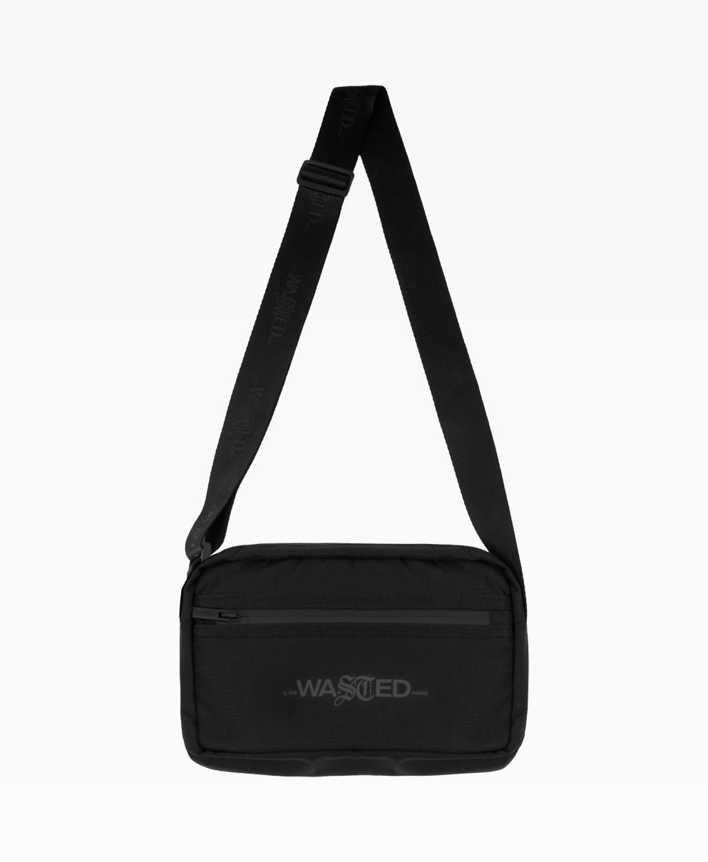 Wasted Messenger Bag Black Front