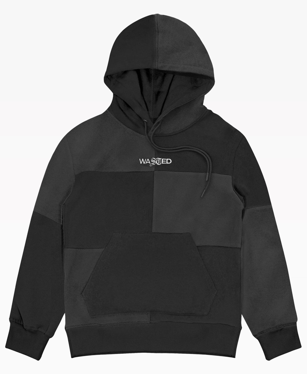 Wasted Patchwork Hoodie Black Front