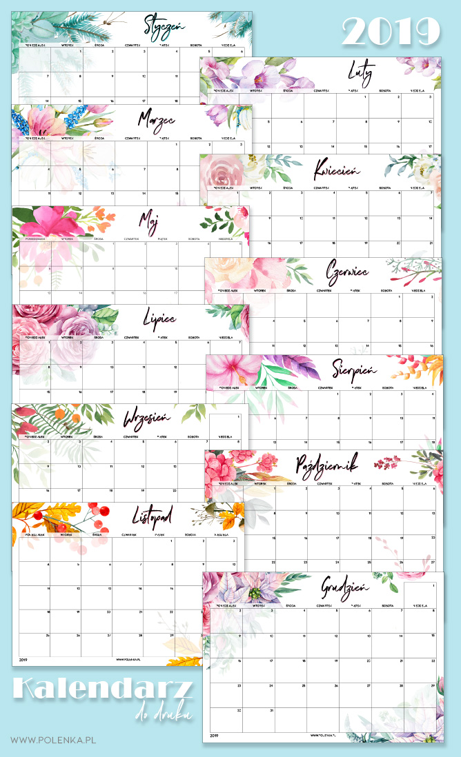 Kalendarz 2019 do druku - akwarelowe wzory