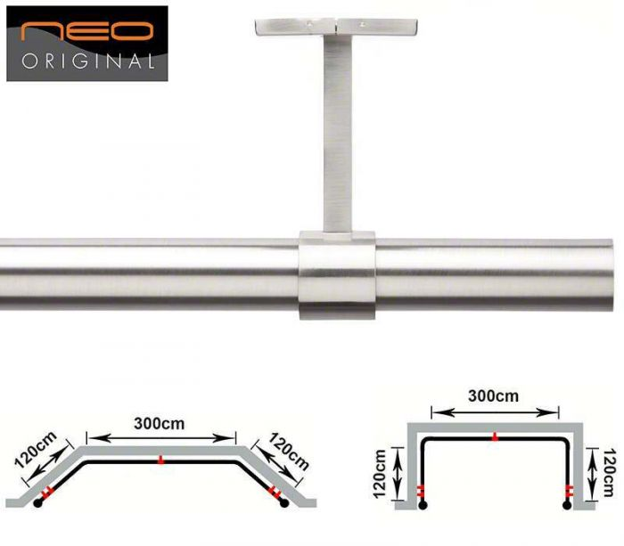rolls neo 3 sided 28mm bay window pole for eyelet curtains 540cm ceiling fix