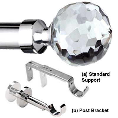 italia 28mm glass crystal ball burano chrome curtain pole