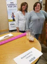 Kathy Mannion and Jean Marincic selling Chinese raffle tickets at Night at the Races.