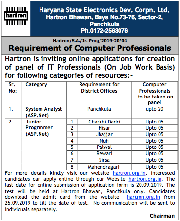 Hartron Haryana Recruitment 2019
