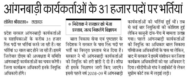 UP Anganwadi Bharti Details