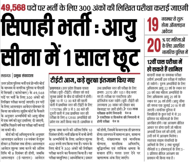 UP Police Bharti 2020 Today News