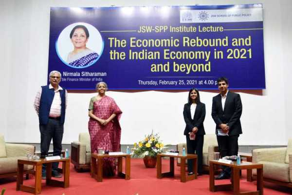 Finance minister Nirmala Sitharaman at a post Budget 2021 interaction with IIA students