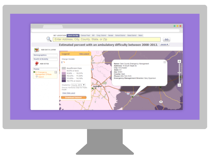 PolicyMap widget for Kentucky Public Health