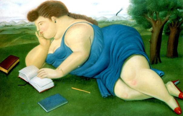 botero-fernando-1932-woman-reading-1987