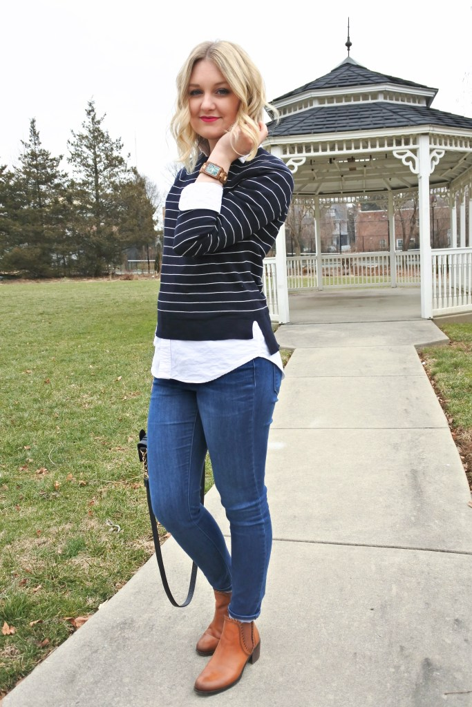 Love layering a long shirt under a short sweater for a fun, preppy look