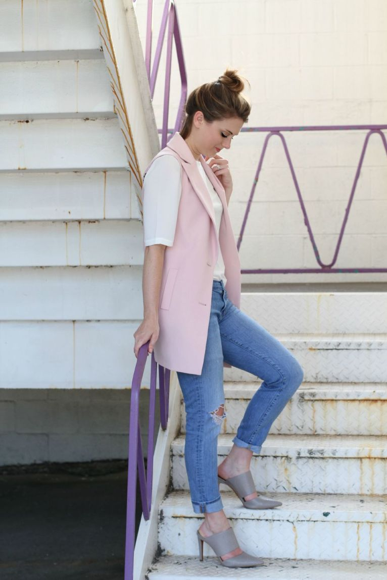 Pink Vest and boyfriend Jeans and Mules