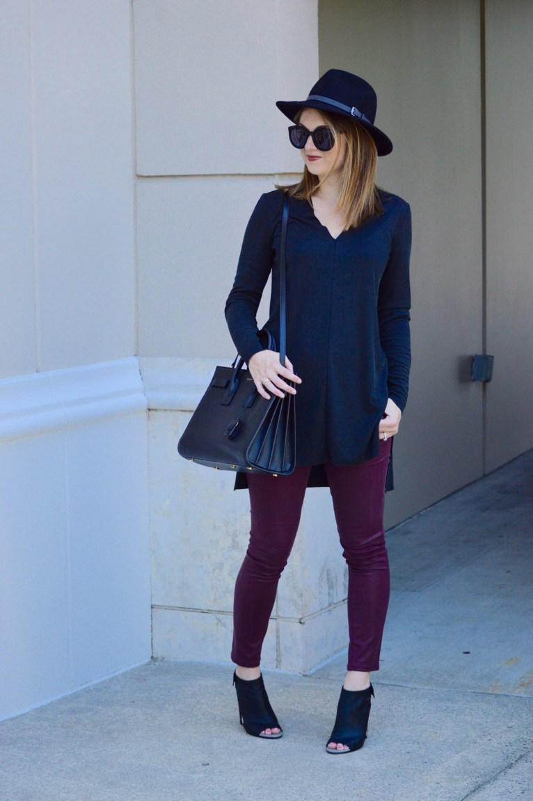 Black Tunic with Coated Denim and Black Hat