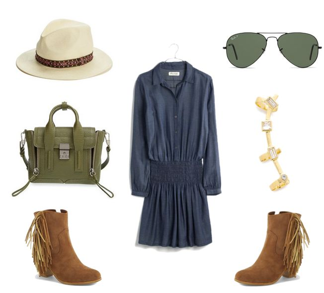 Denim Dress for Fall with Fringe Booties