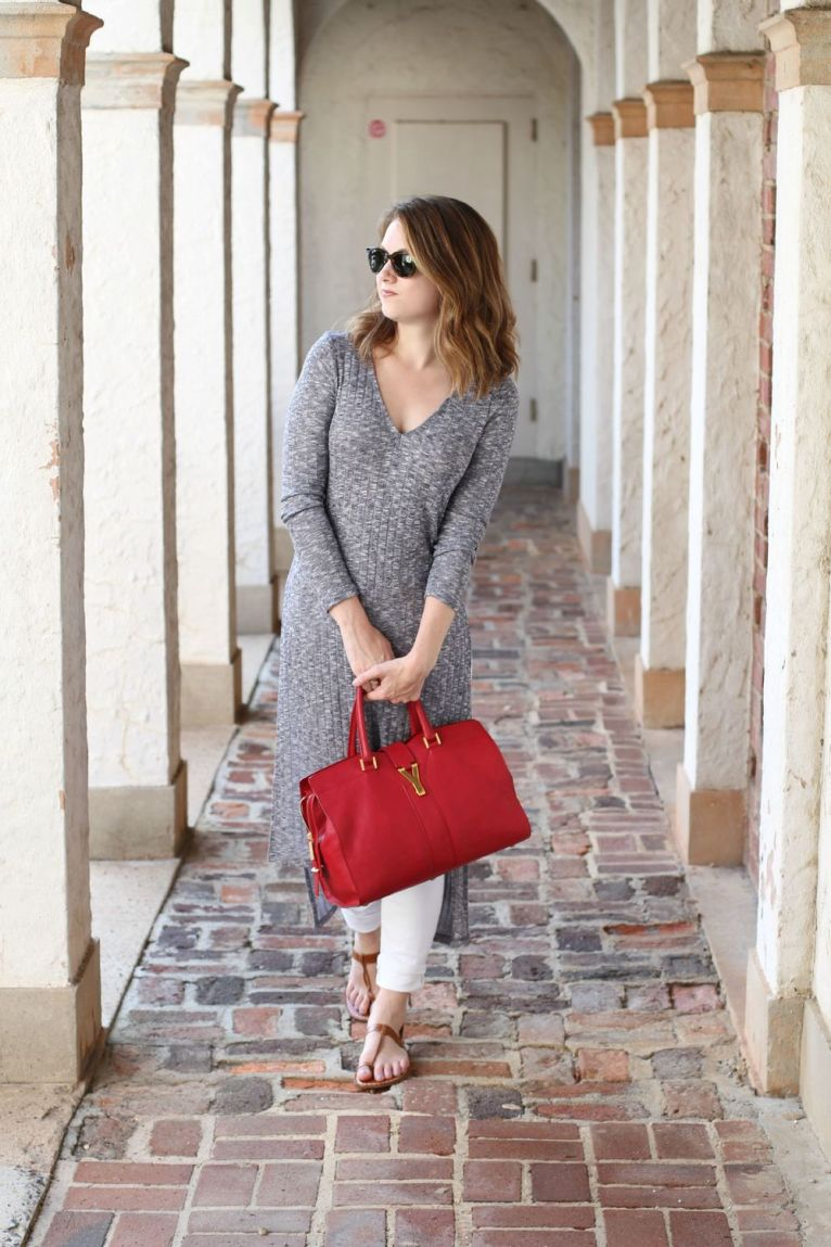 Long tunic with split and red YSL satchel
