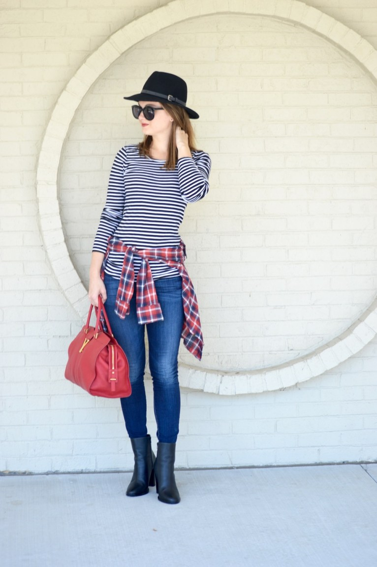 Black Felt hat and plaid and striped shirts