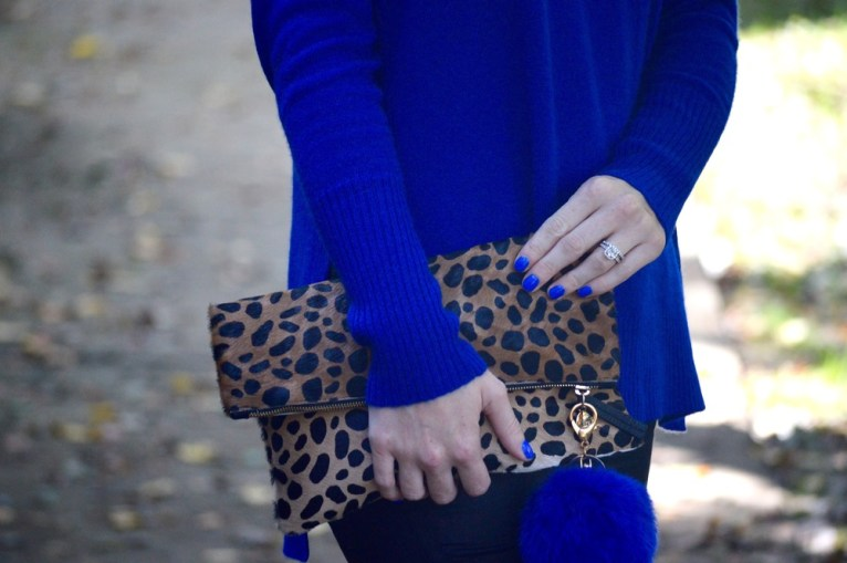 leopard clutch and purse poof