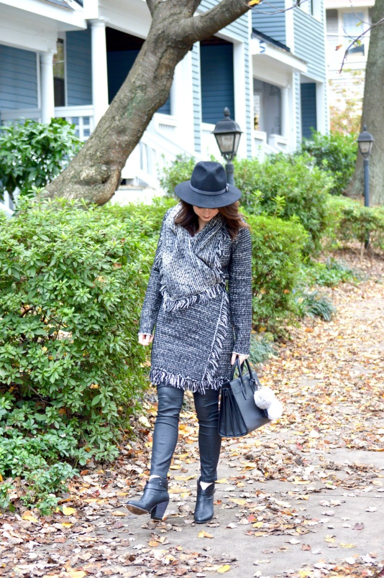 Finge Cardigan and Black Panama Hat