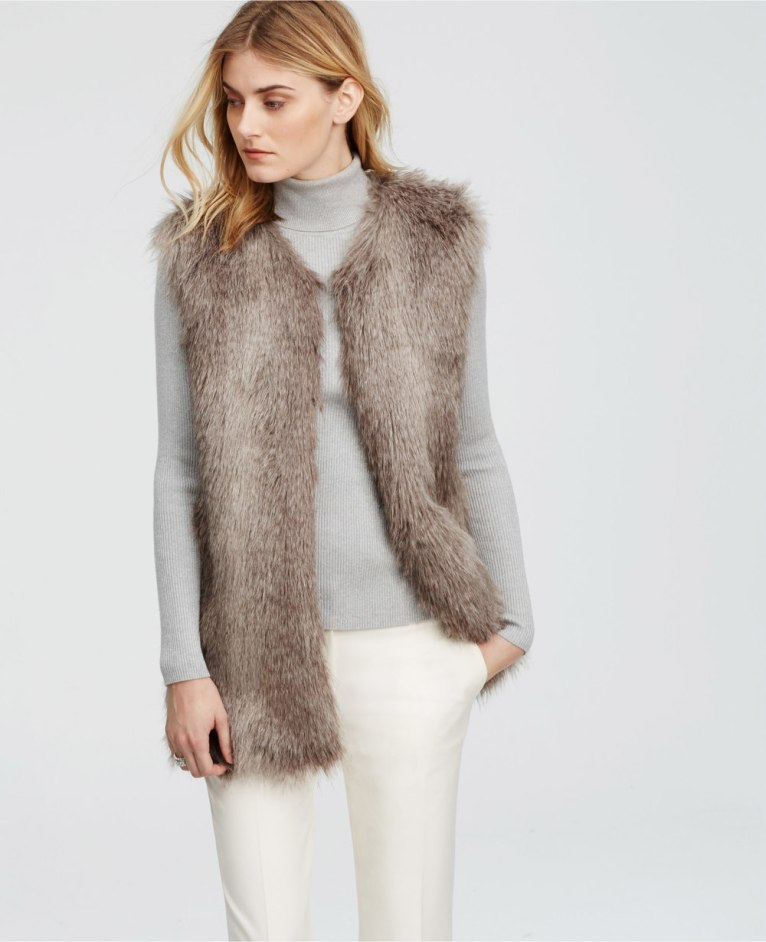 gray faux fur vest