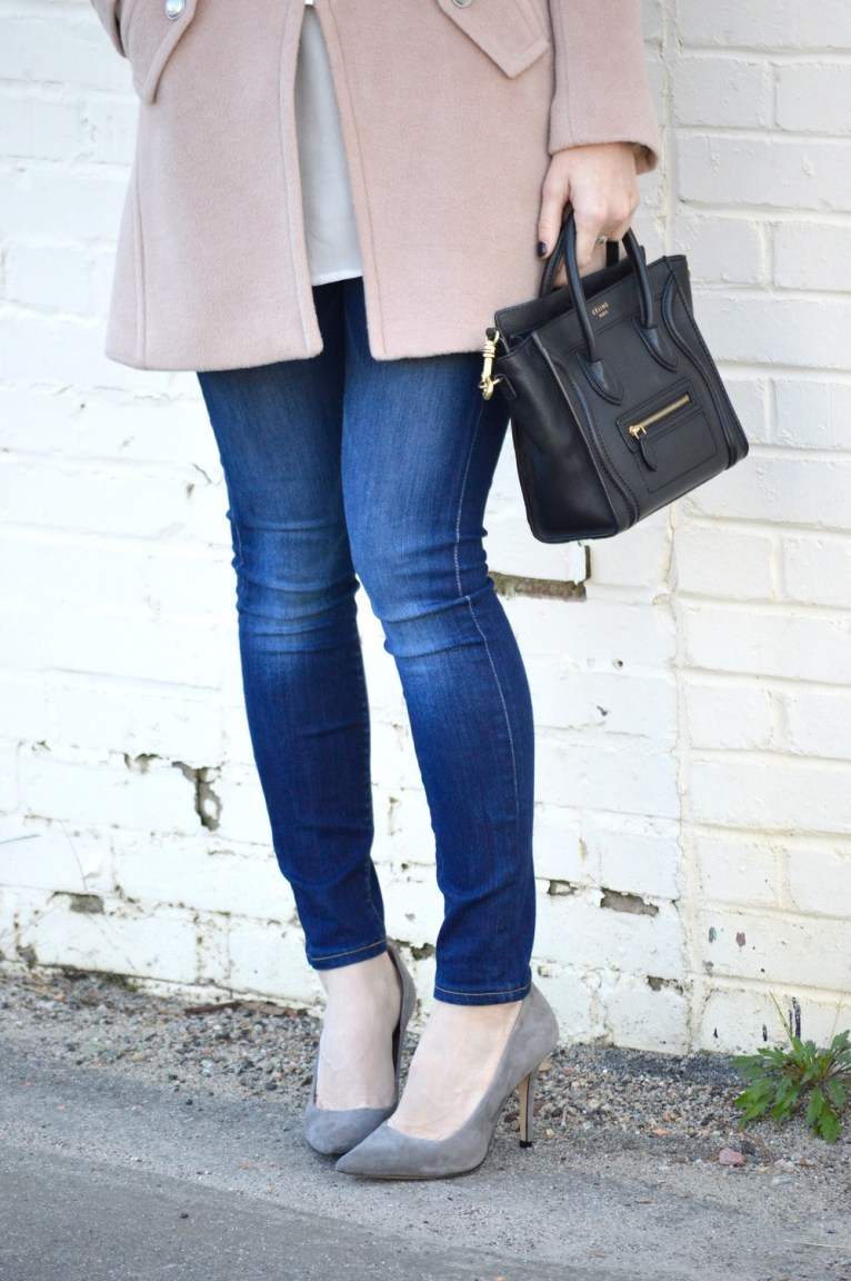 Celine Nano and Grey Suede Heels