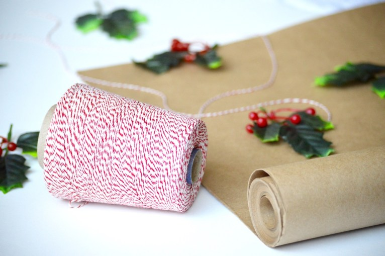 twine and holly wrapping paper
