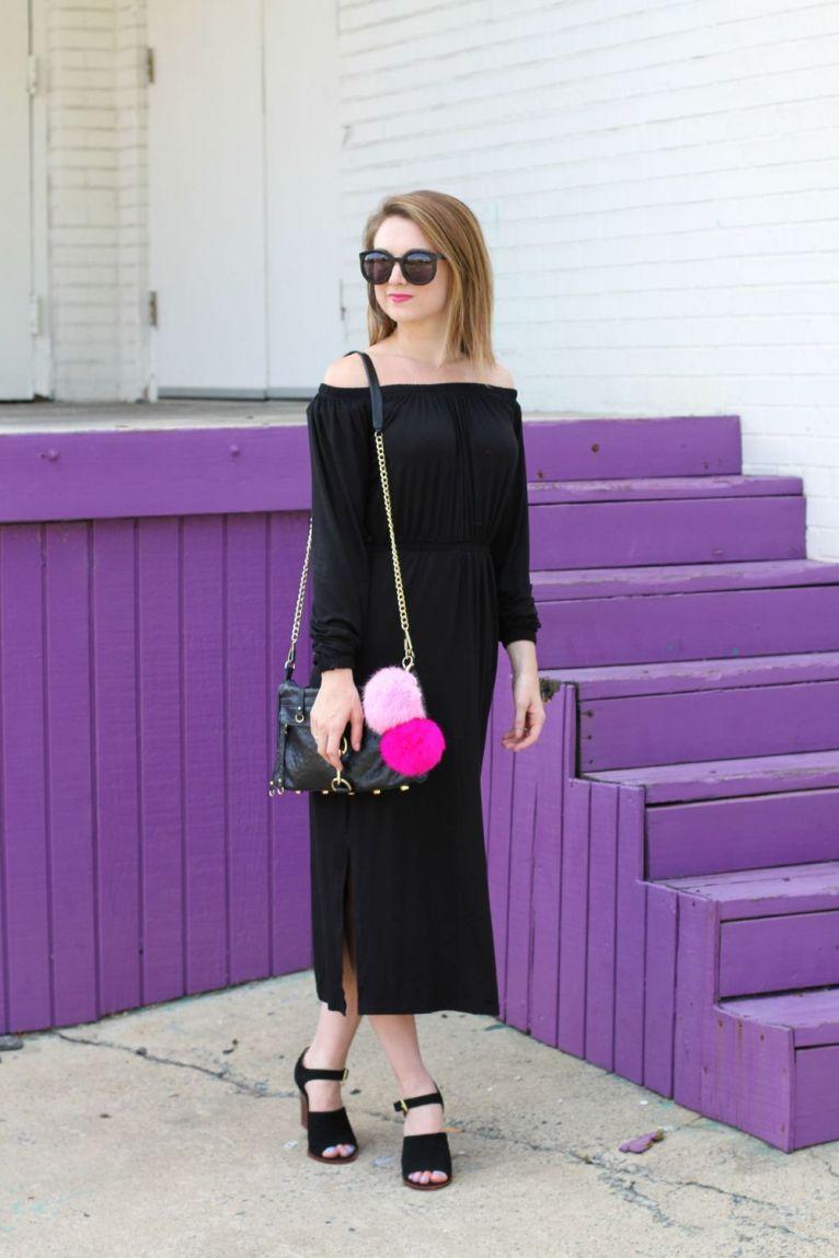 Black off the shoulder midi dress