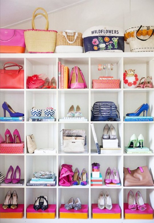 colorful shoe storage