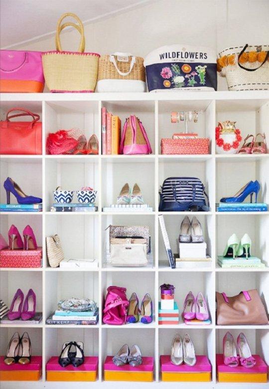 colorful shoe storage