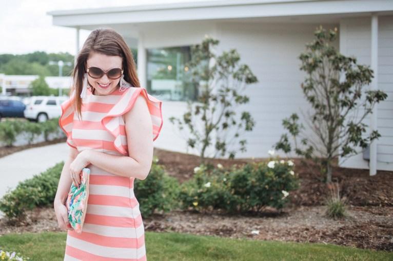 Asos ruffled striped dress