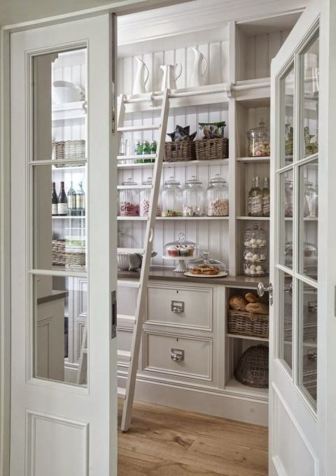 library style pantry shelving