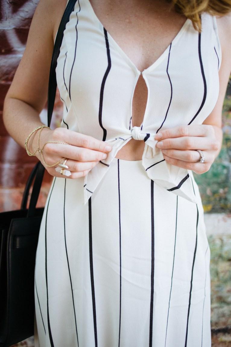 Striped Cut Out Dress || www.polishedclosets.com