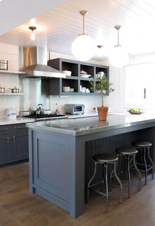 kitchen with dark gray cabinets