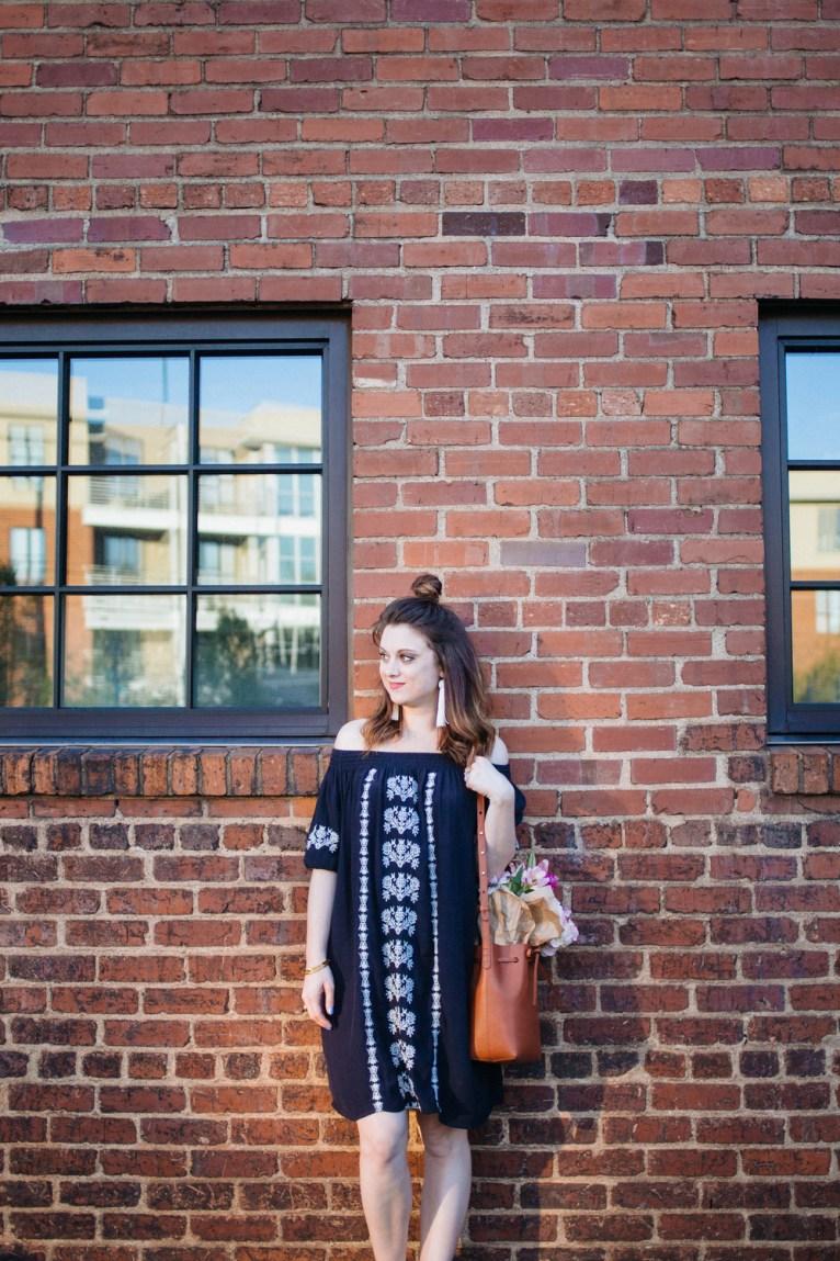 Embroidered Off the Shoulder Loft Dress || @polishedclosets
