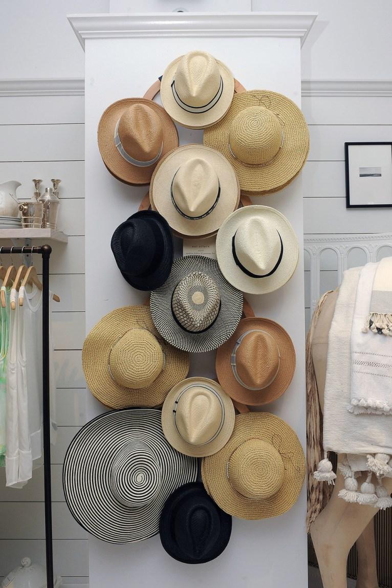 hats on rack // www.polishedclosets.com