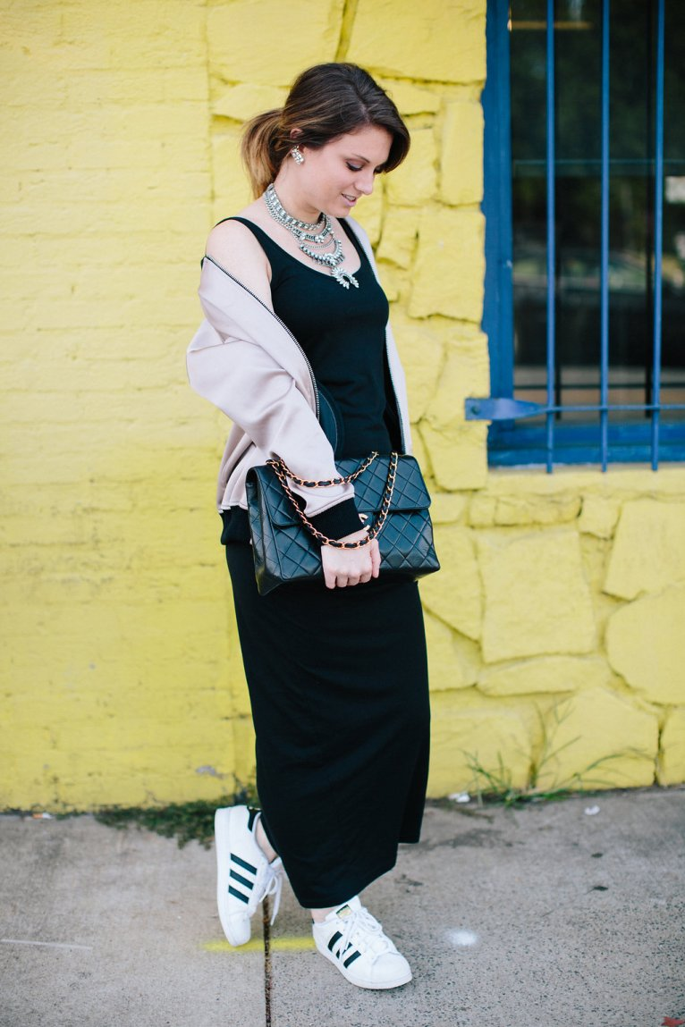 Casual Maxi and Bomber Jacket // www.polishedclosets.com
