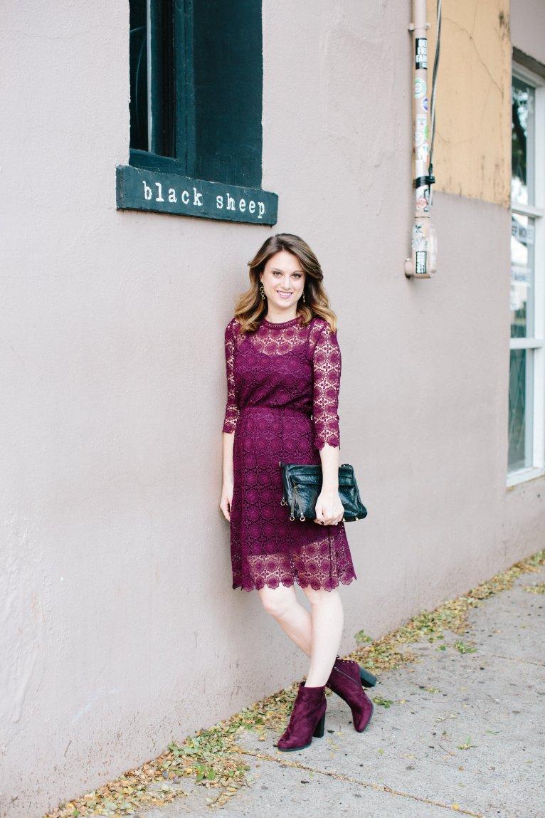 Chic Wish Burgundy Lace Dress // www.polishedclosets.com