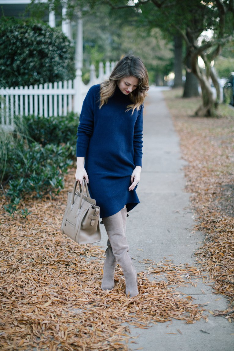 Navy Sweater Dress and OTN Boots // www.polishedclosets.com
