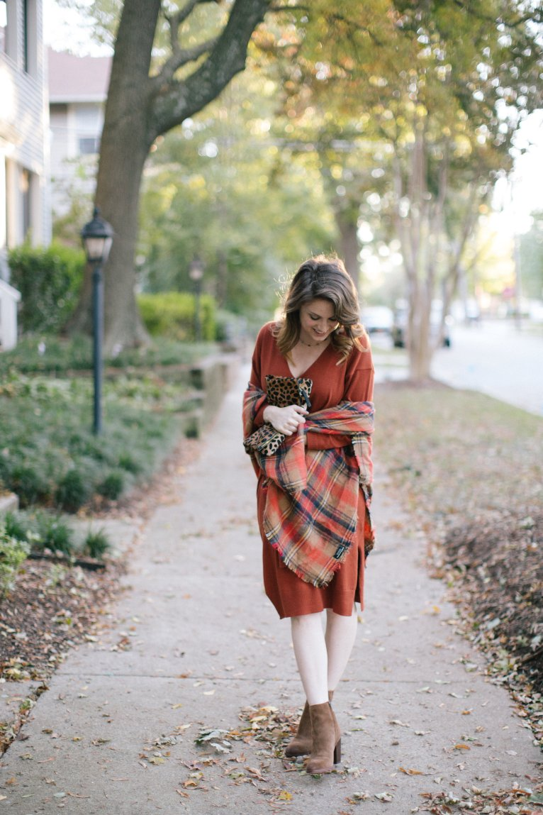 Plaid Scarf and Leopard Clutch