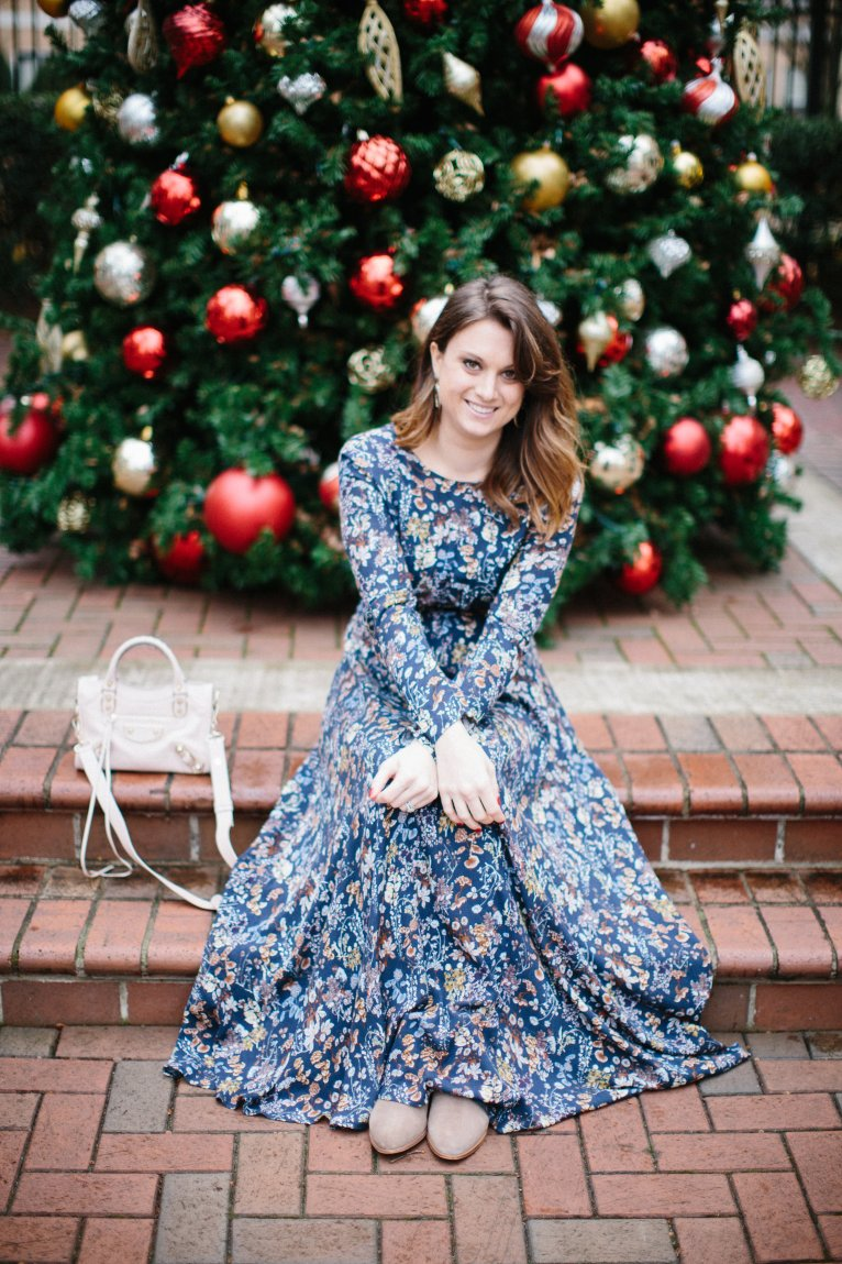floral maxi dress for winter // www.polishedclosets.com