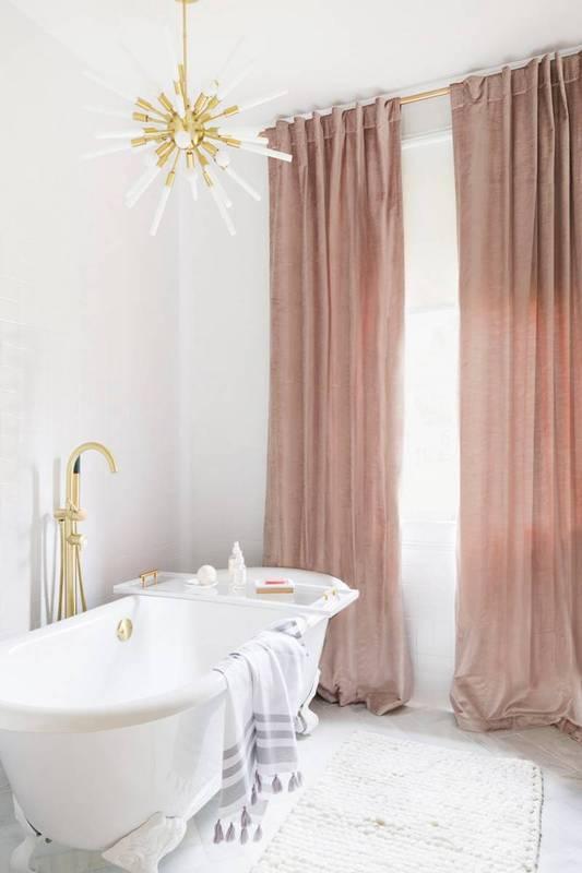 pink velvet curtains
