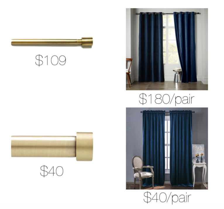 navy velvet curtains and gold curtain rods // www.polishedclosets.com