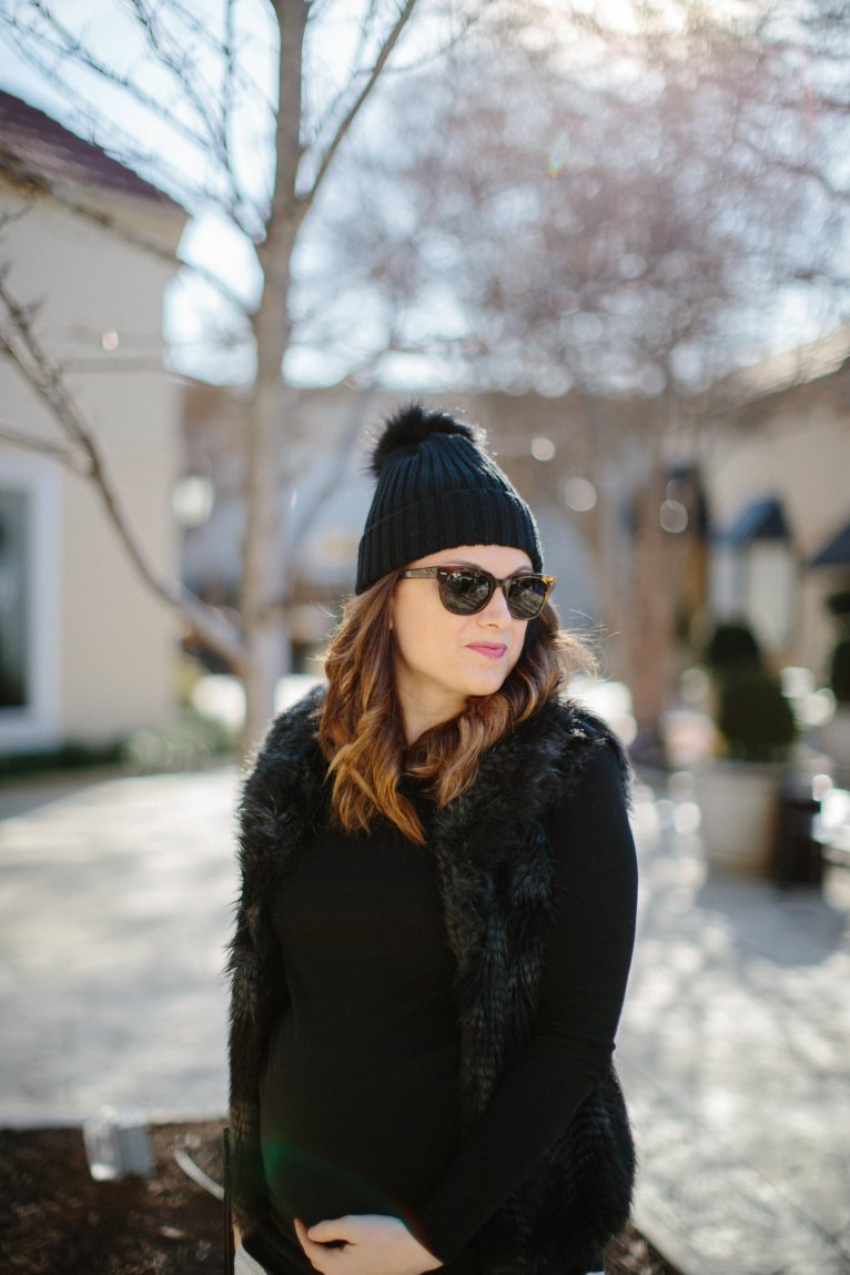 black beanie with poof // www.polishedclosets.com