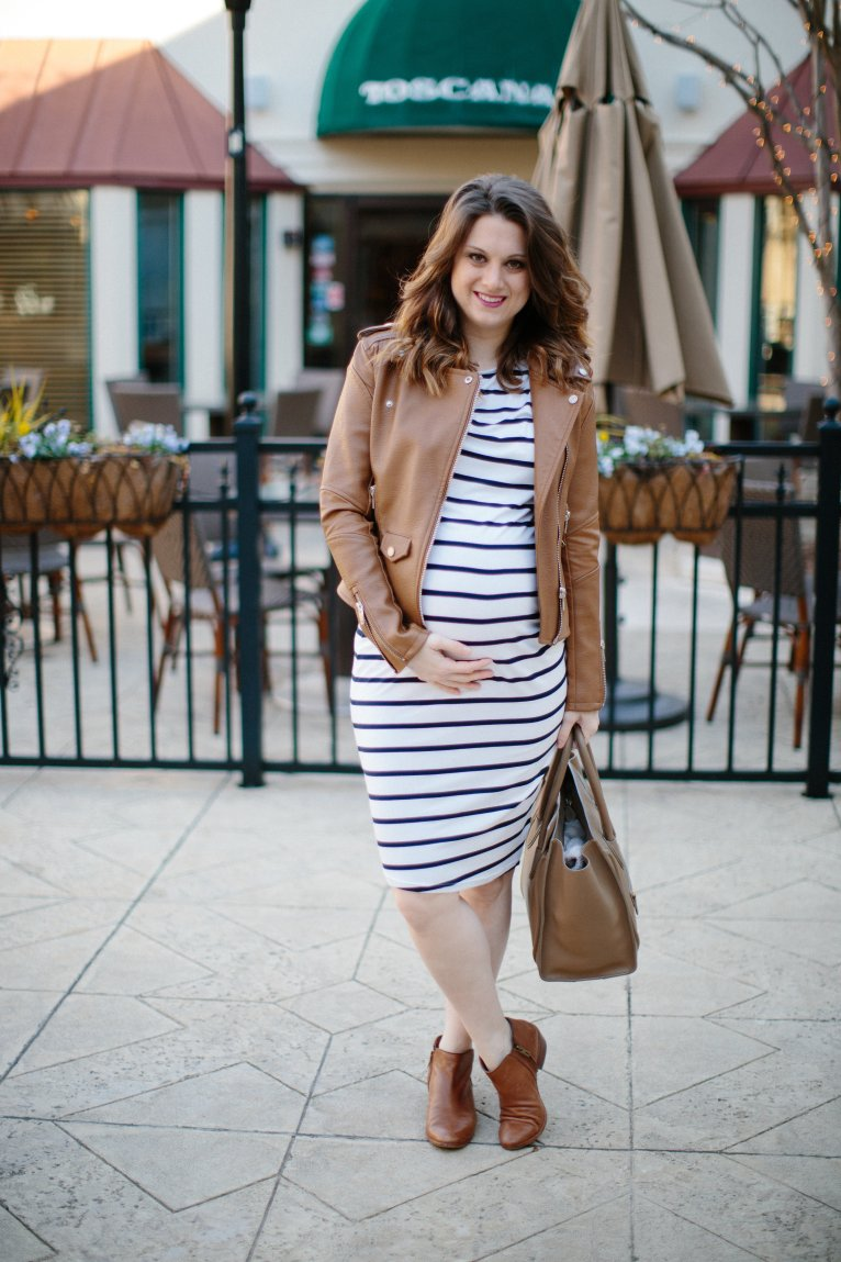 Striped Dress and leather jacket // www.polishedclosets.com